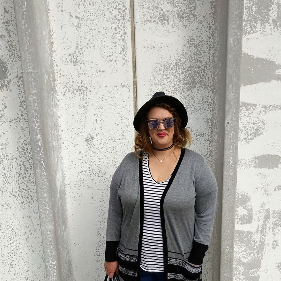 Stripe Top With Grey Cardigan And Hat