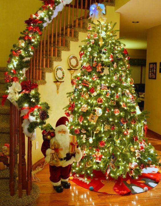 Stunning Christmas Tree And Stairs Decor With Lights, Beautiful Ornaments And Cute Santa Claus