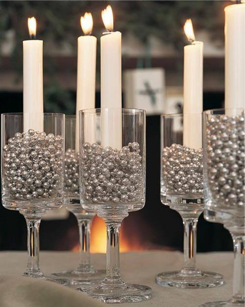 Stylish Candle Holder With Silver Balls In Glass Holder