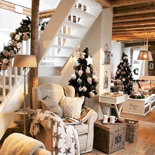 Stylish Christmas Stairs And Living Area Decoration