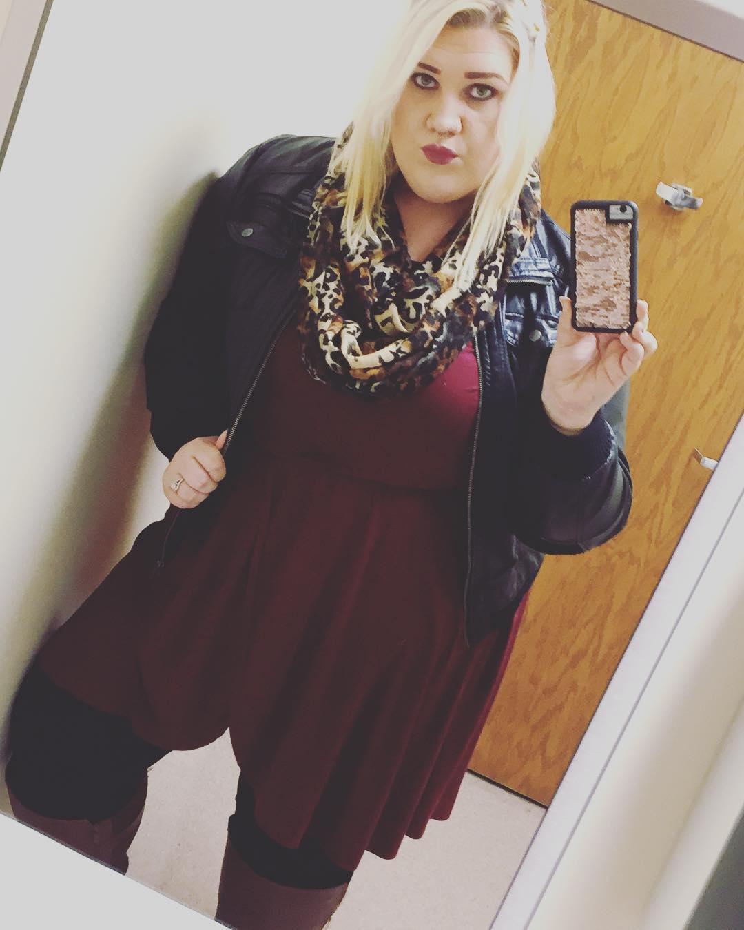 Stylish Maroon Dress With Leather Jacket And Leopard Scarf