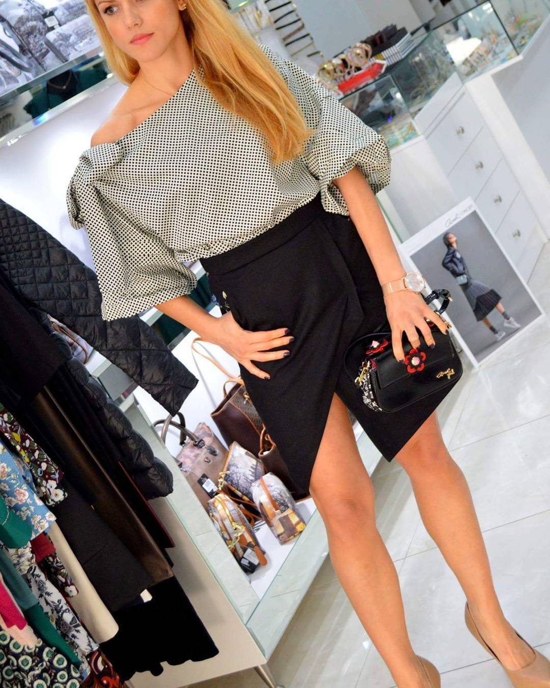 Stylish Top With Suede Mini Skirt