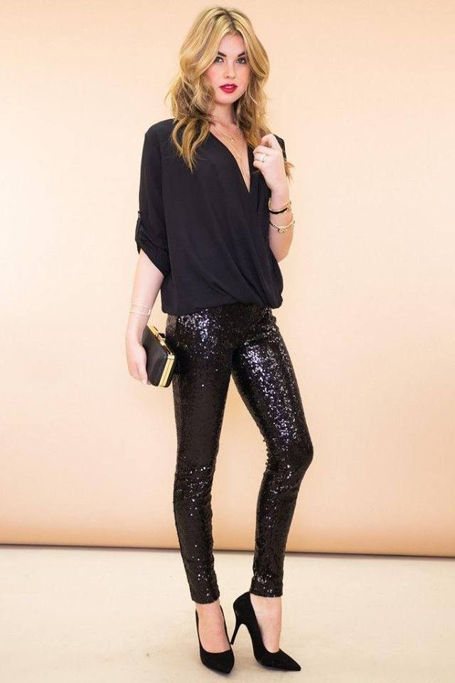 Superb Black Top Paired With black Sequin Legging & Heels