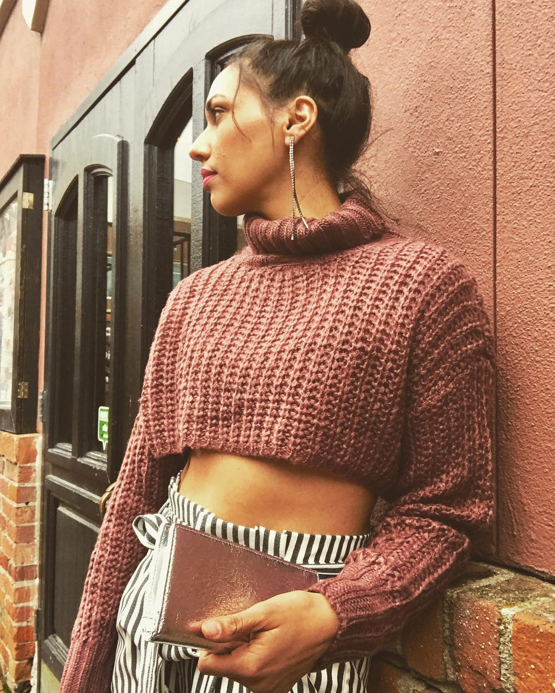 Superb Turtle Neck Cropped Sweater Paired With Black & White Stripes Pant