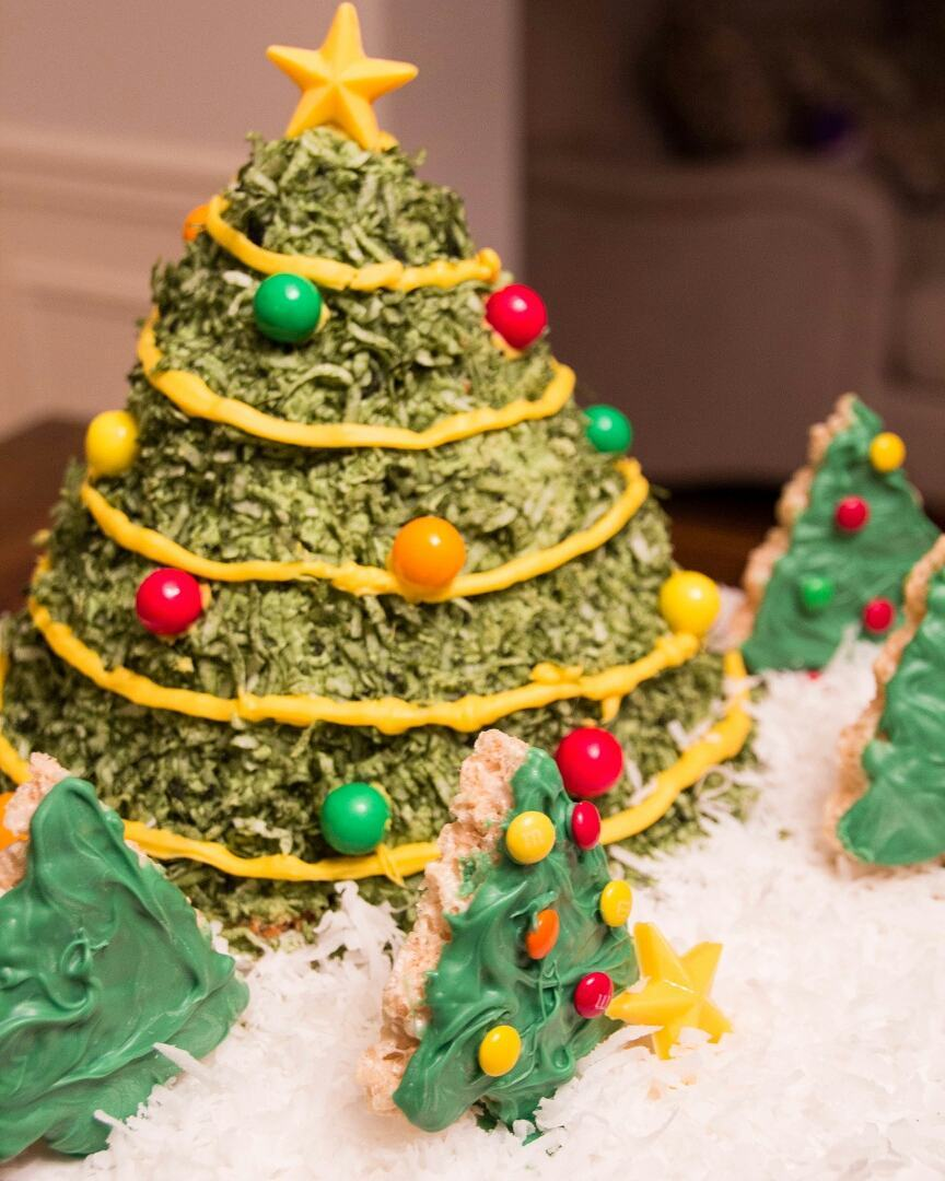 Tree Cake Design And Decorated With Candy Like Christmas Ornaments