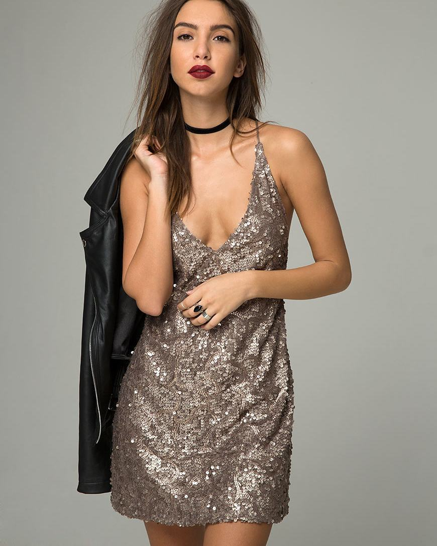 Ultimate Sequin Short Dress With Spaghetti Straps Ad Leather Jacket