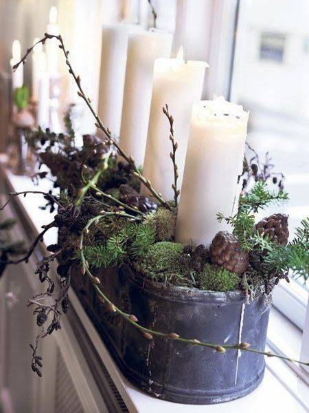 Vintage Style Metal Tub With Candle And Greenery
