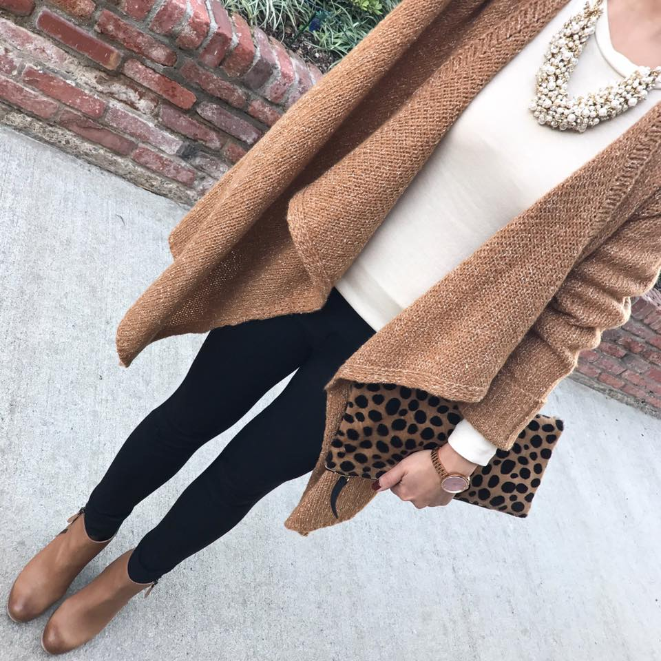 White Top, Jagging, Open Stylish Sweater And Leather Ankle Shoes & Leopard Print Purse