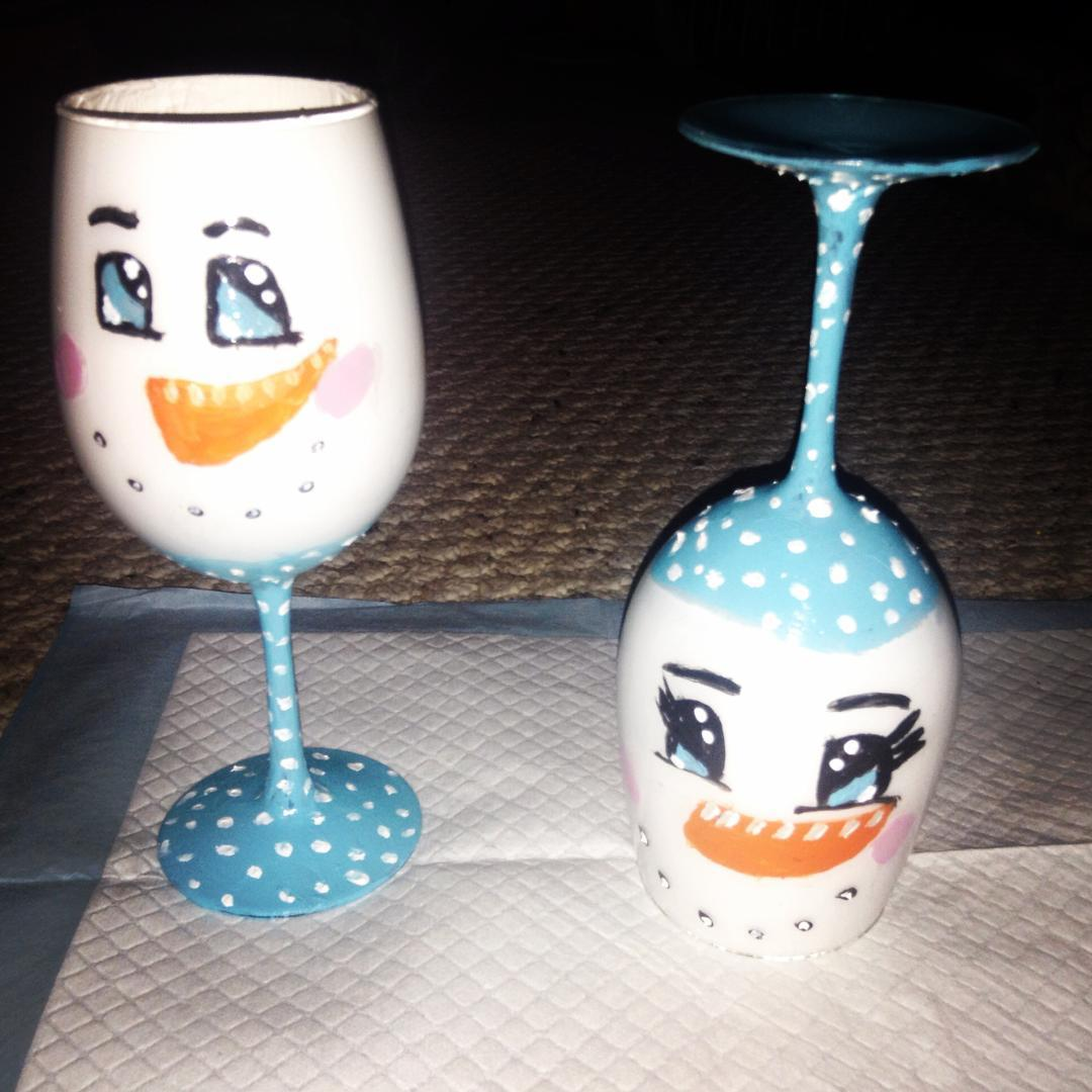 Wine Glass DIY Snowman