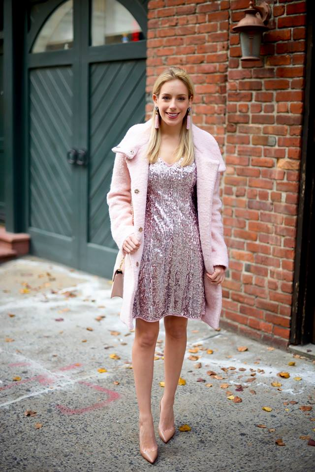 Wonderful Pink Sequin Short Dress With Faux Fur Coat And Matching Pumps