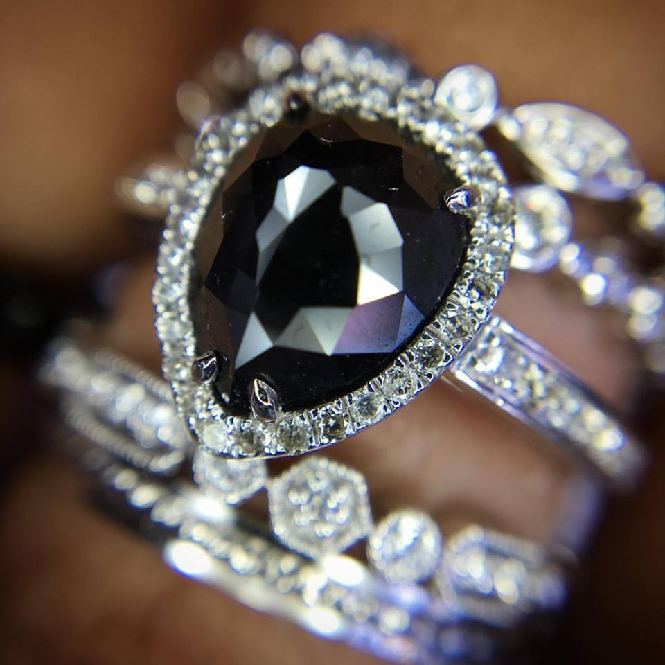 Adorable Engagement Ring With Black Diamond