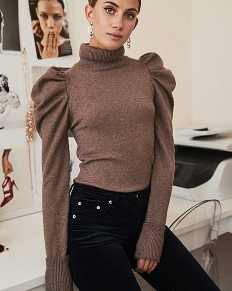 Adorably Stylish Sleeves Turtle Neck Sweater