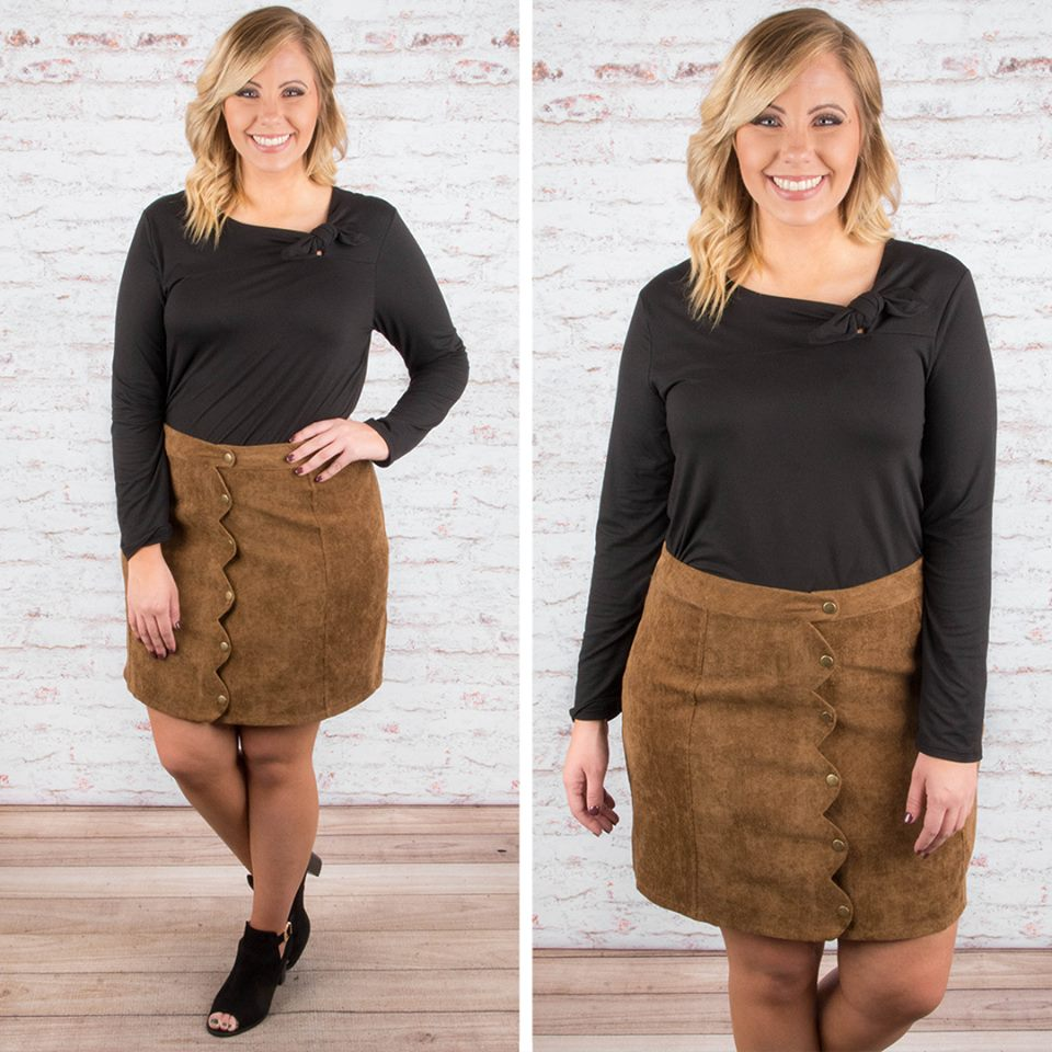 Alluring Black Bow Knot Top With Suede Skirt