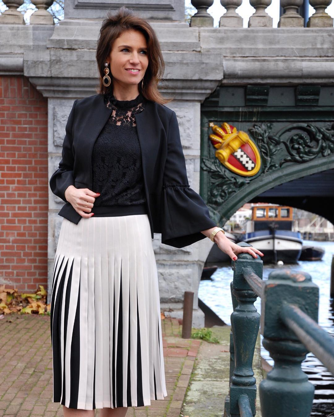 Appealing Black & White Skirt With Net Top And Jacket