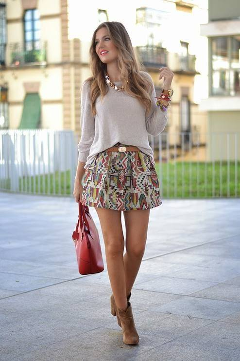 Artistic Mini Skirt With Full Sleeves Warm Top, Ankle Shoes And Beautiful Handbag