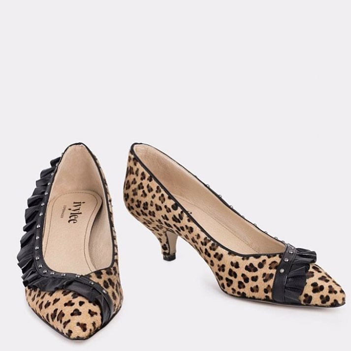 Attractive Animal Print Kitten Heels With Ruffles