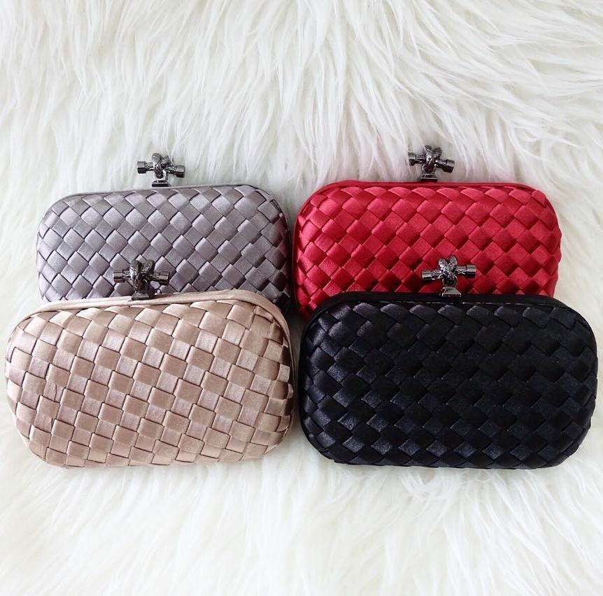 Authentic Satin Various Colours In Clutch Bag
