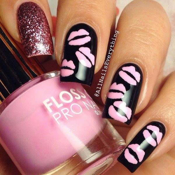 Awesome Black Nails With Pink Kiss And Glitter - Blurmark