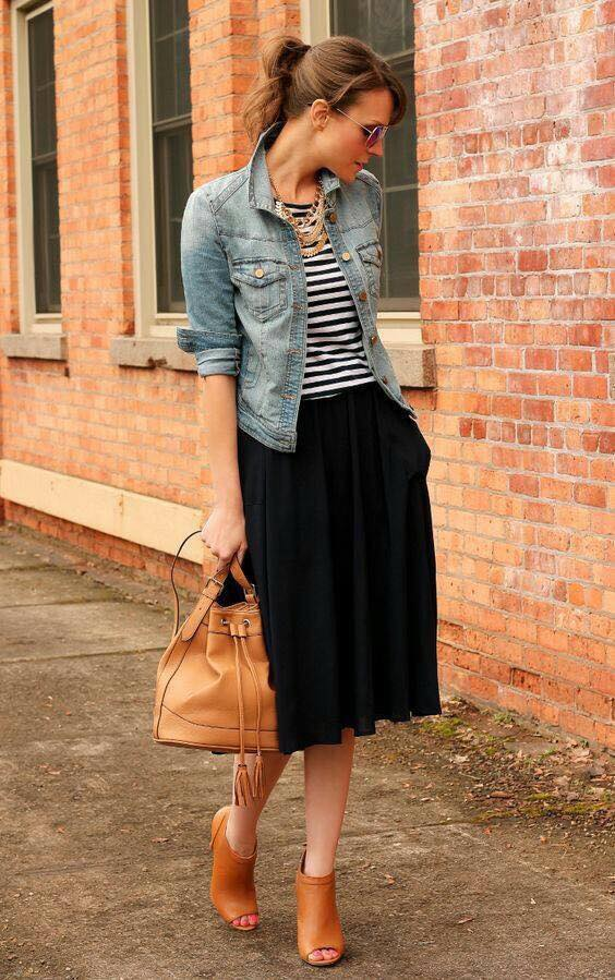 Awesome Black & White Stripes Top Paired With Black Skirt, Denim Jacket, Gorgeous Handbag And Shoes