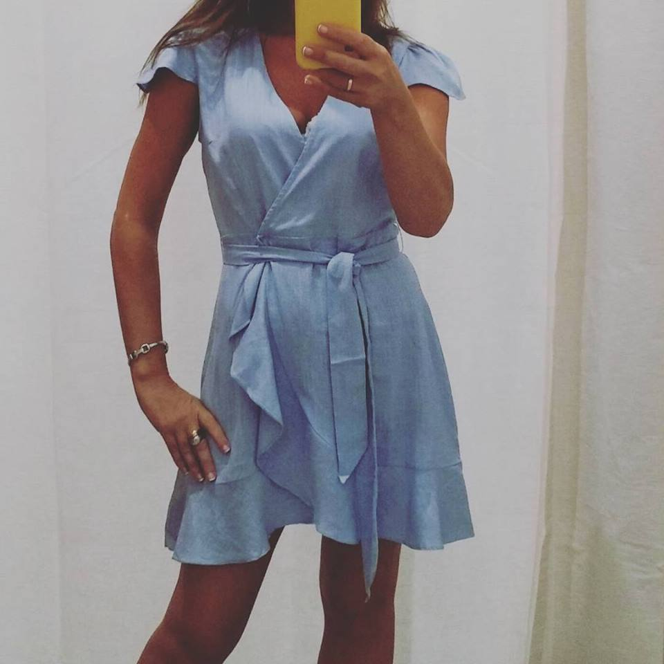 Awesome Blue Short Wrap Dress Perfect For Summer
