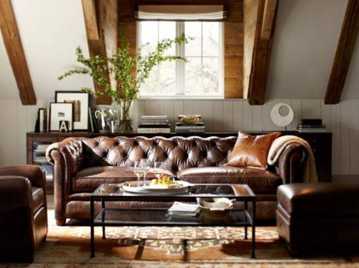 Awesome Living Room Decor With Leather Sofa And Wooden Beam