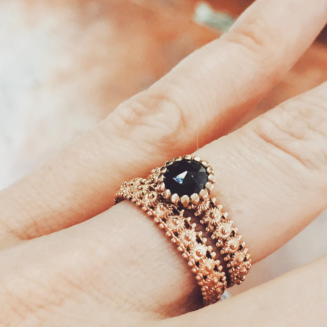 Awesome Rose Gold & Black Diamond Ring