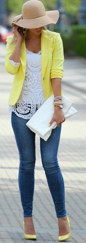 Awesome White Top, Blue Jeans And Yellow Blazer