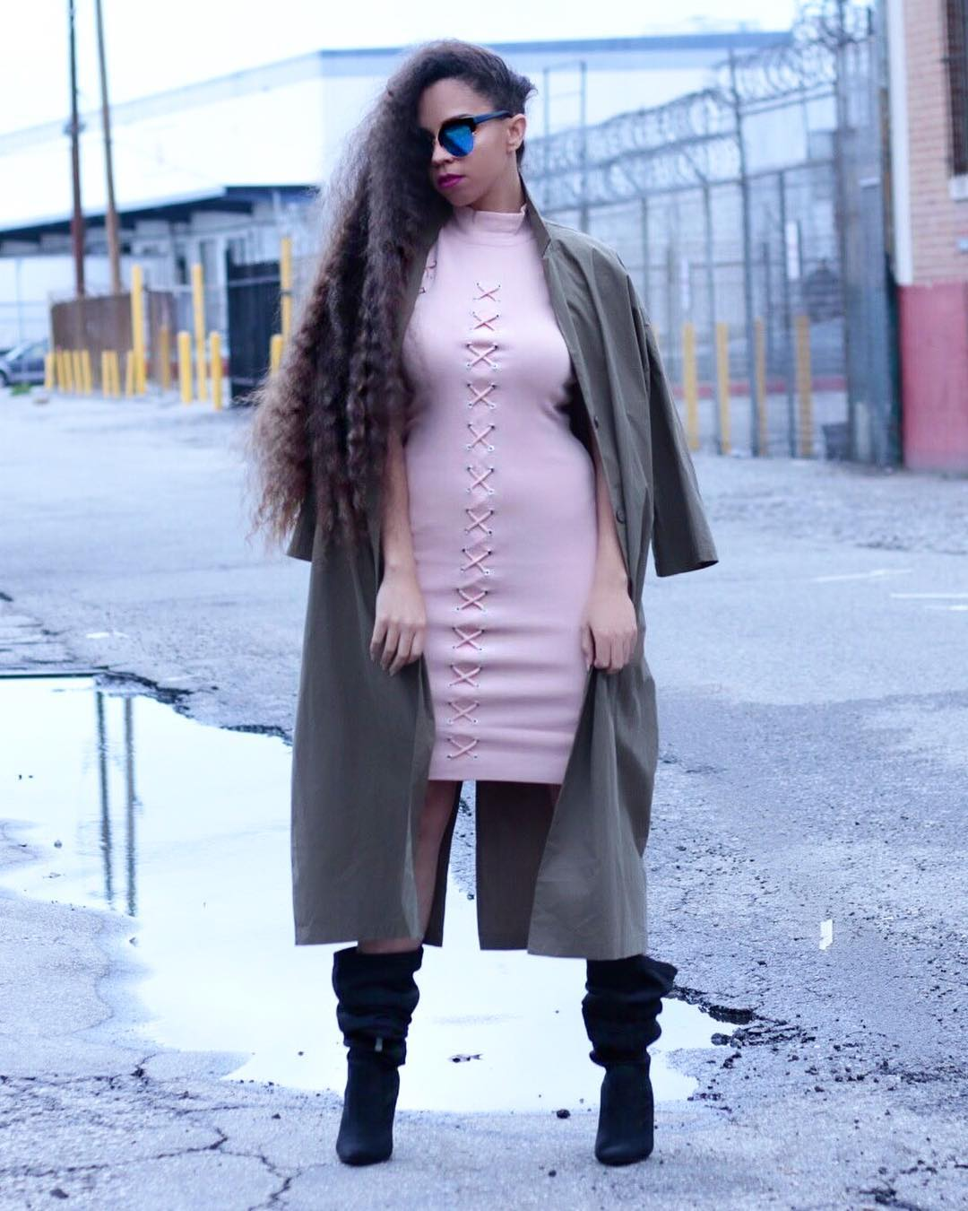 Baby Pink Midi With Over Coat