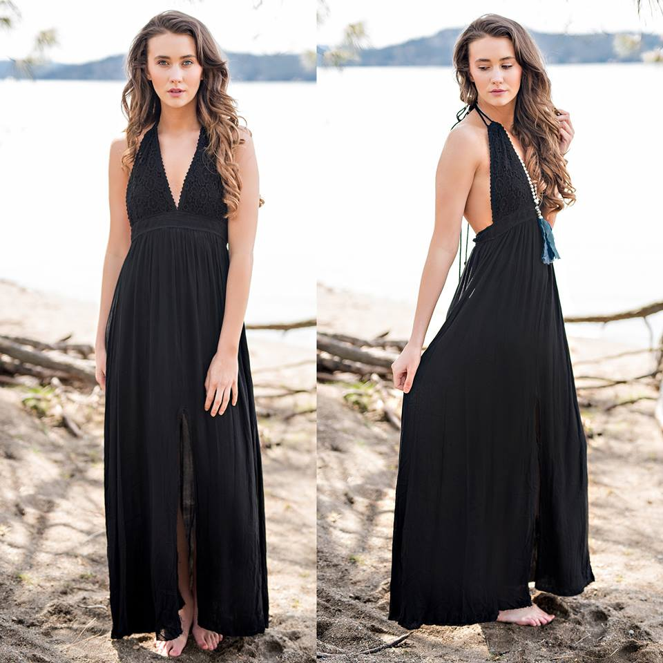 Backless Crochet Halter Neck Boho style Black Dress Perfect For Night Out In Summer