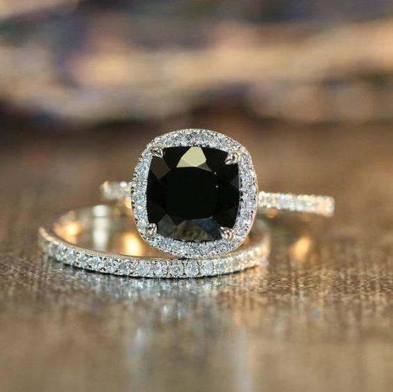 Beautiful Black Diamond Engagement Ring