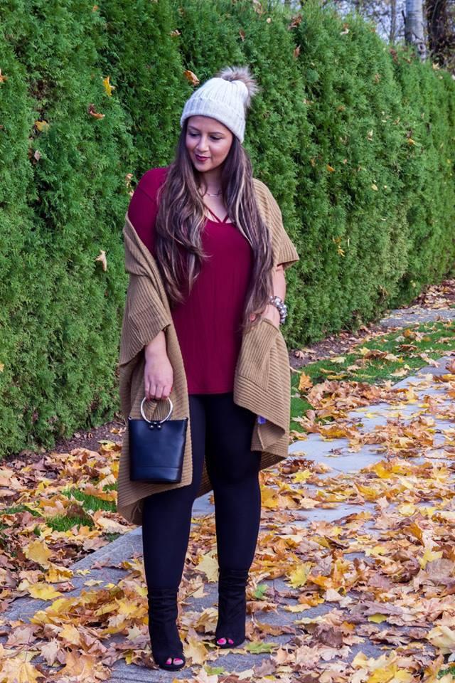 Beautiful Burgundy Top, Black Legging With Oversize Cardigan, Cap And Handbag