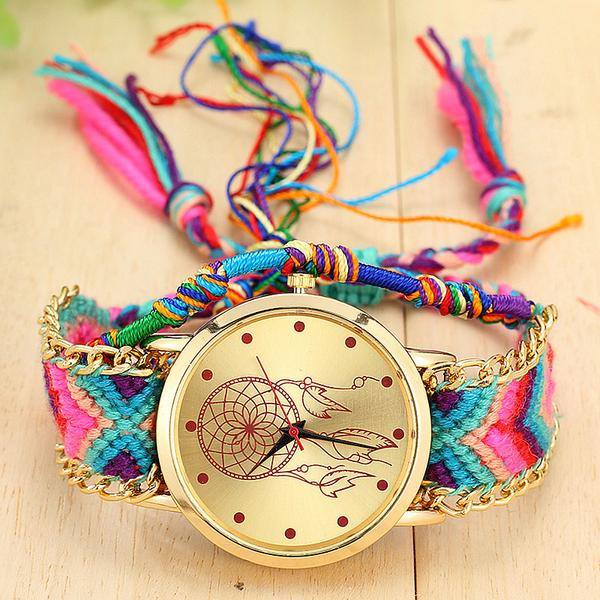 Beautiful Colorful Handwoven Dreamcatcher Watches