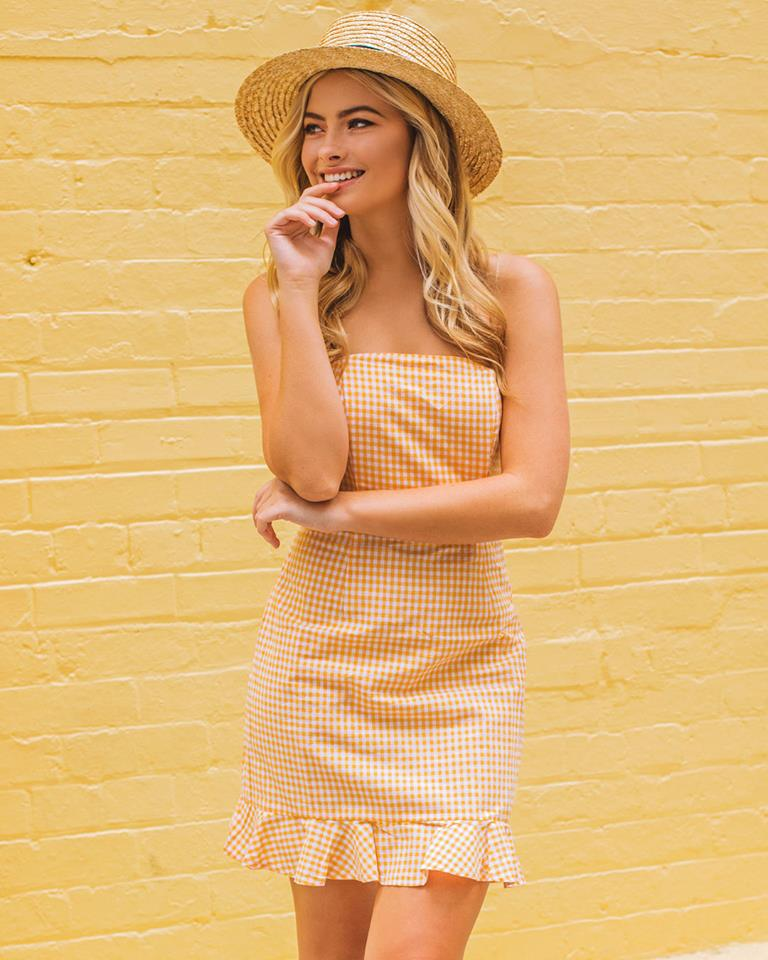 Beautiful Gingham Print Yellow Off Shoulder Dress With Hat