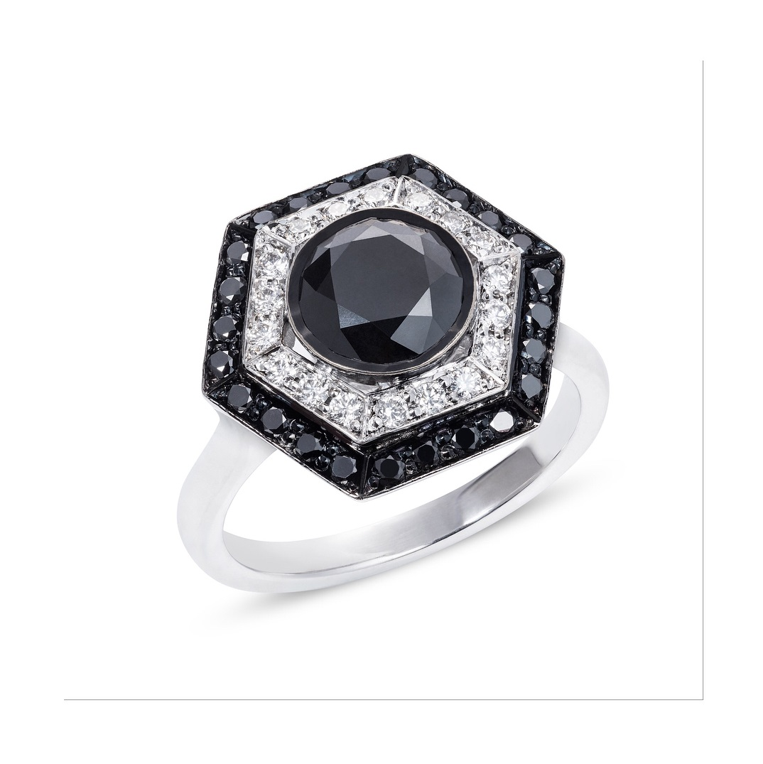 Bespoke Black & White Diamond Ring For Engagement