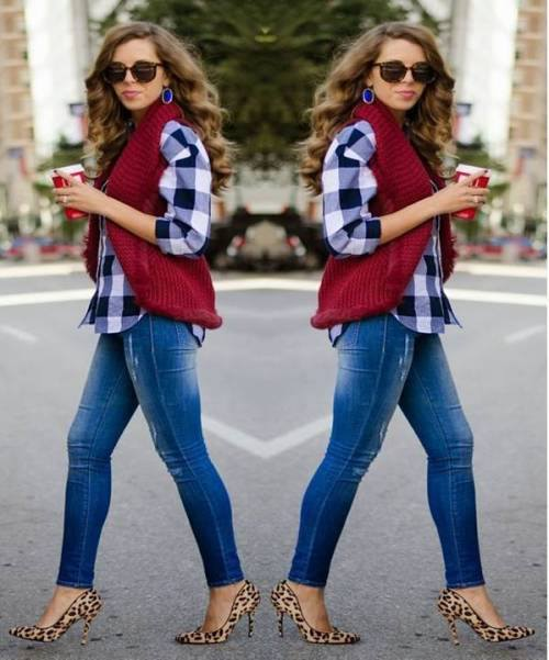 Best Black & White Check Shirt With Maroon Jacket And Leopard Pumps