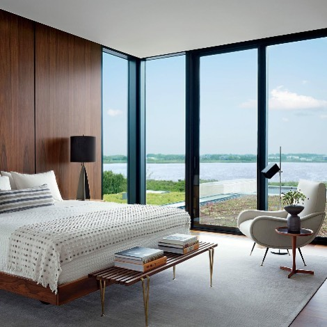 Big Glass Window And Wooden Wall Looks Stunning In Contemporary Bedroom