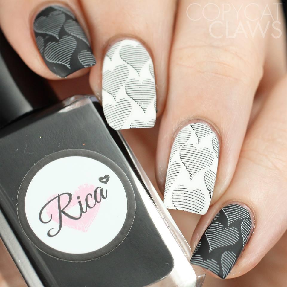 Black & White Stripes Heart Nail Design - Blurmark