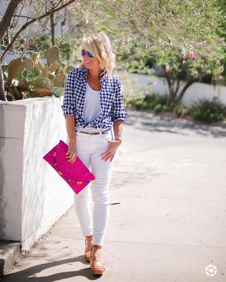 Blue & White Gingham Shirt, White Pant, Magenta Clutch And Leopard Belt