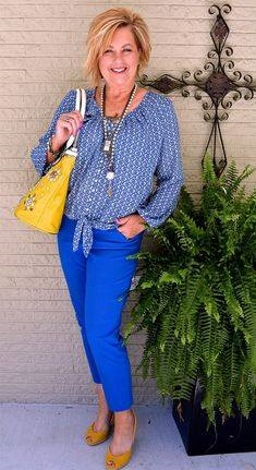 Boho Style Blue Top With Pant, Mustard Open Toe Pumps And Handbag