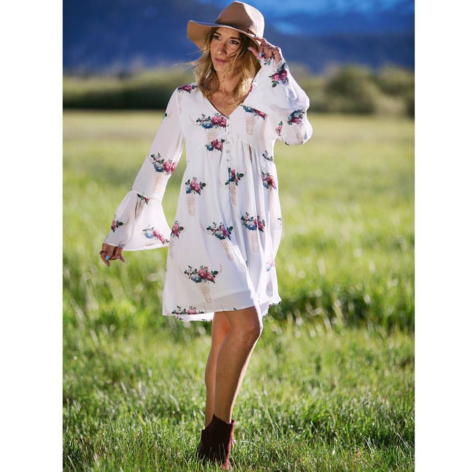 Button Down Short White Dress With Hat and Ankle Shoes