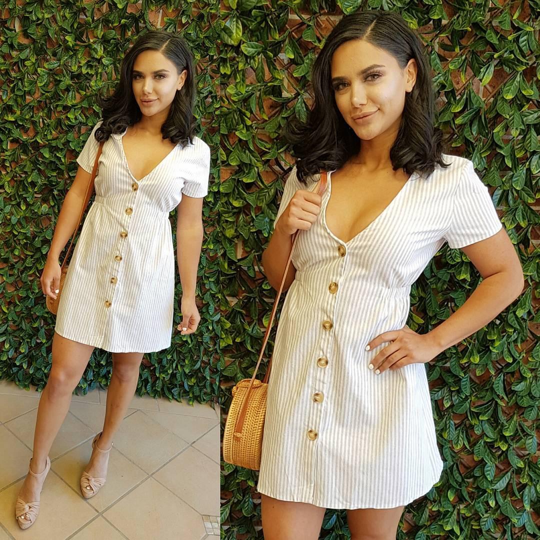 Carmel V-Neck Button Down Short Dress With Crossbody Bag
