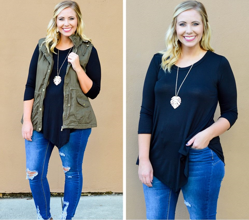 Casual Vest Look Perfect With Black Tunic And Leaf Necklace