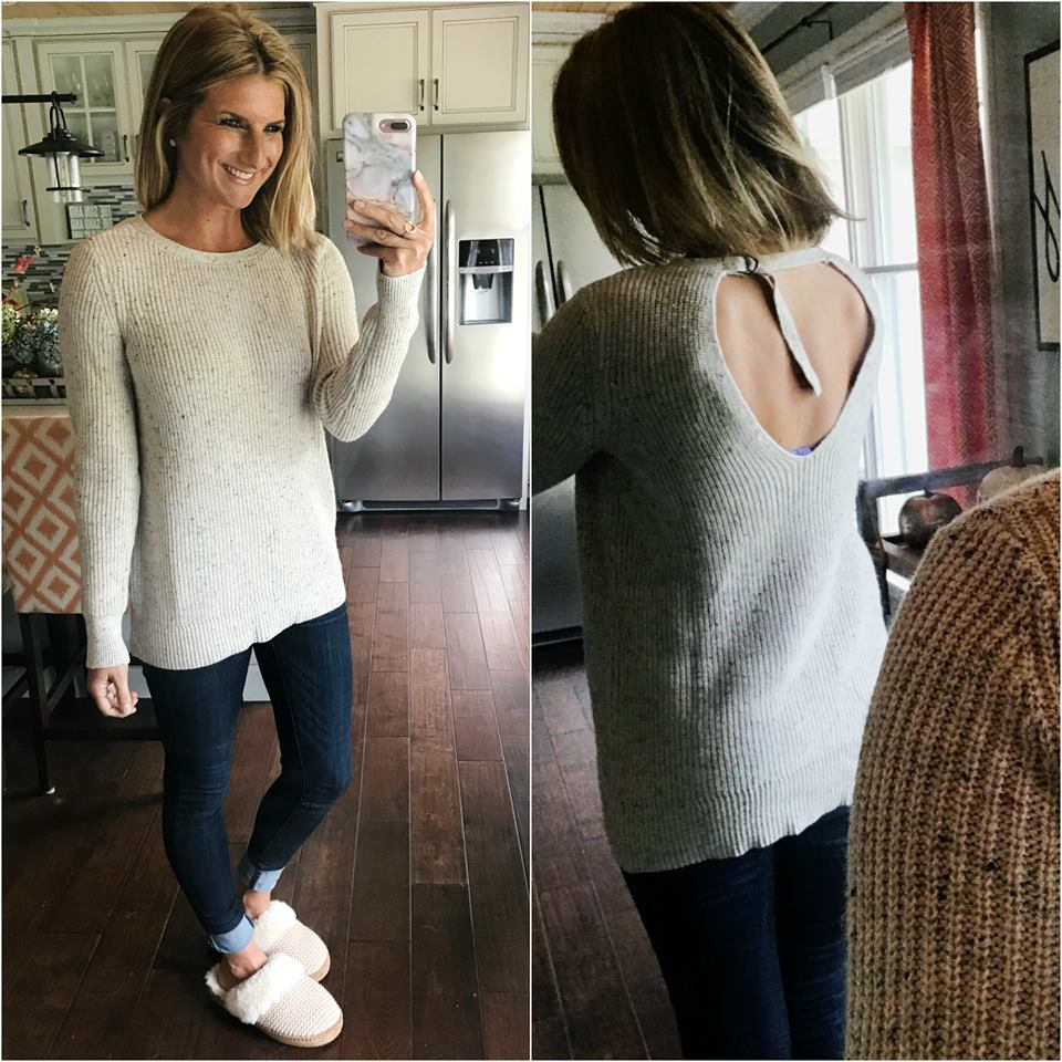 Charming Back Design Sweater With Jeans