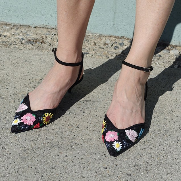 Charming Black Embroidered Kitten Heels