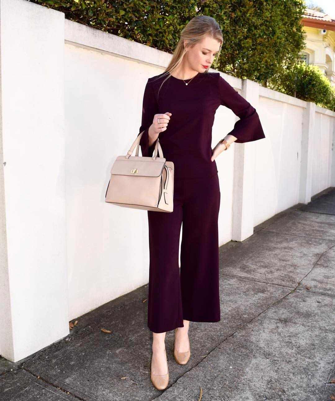 Charming Burgundy Crop Pant And Top