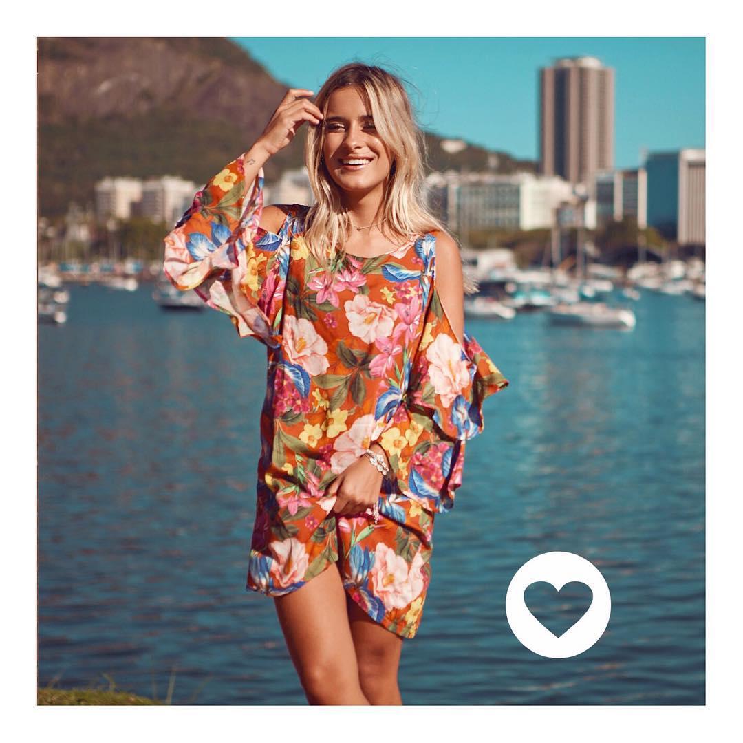 Charming Cold Shoulder Floral Print Short Summer Outfit
