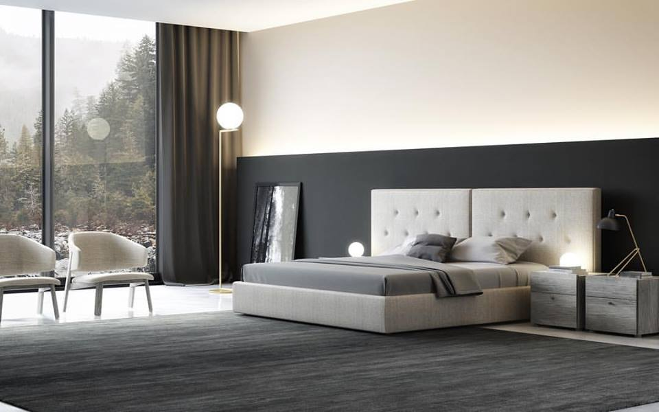 Charming Contemporary Bedroom With Fabric Bed