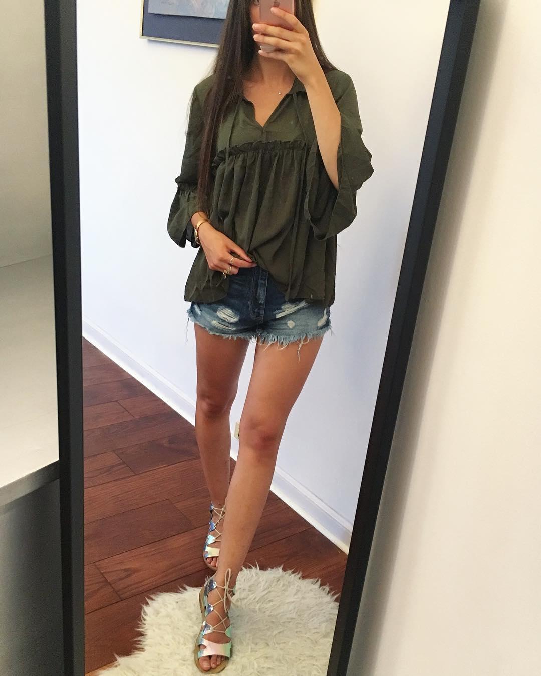 Charming Dark Green Top With Denim Shorts