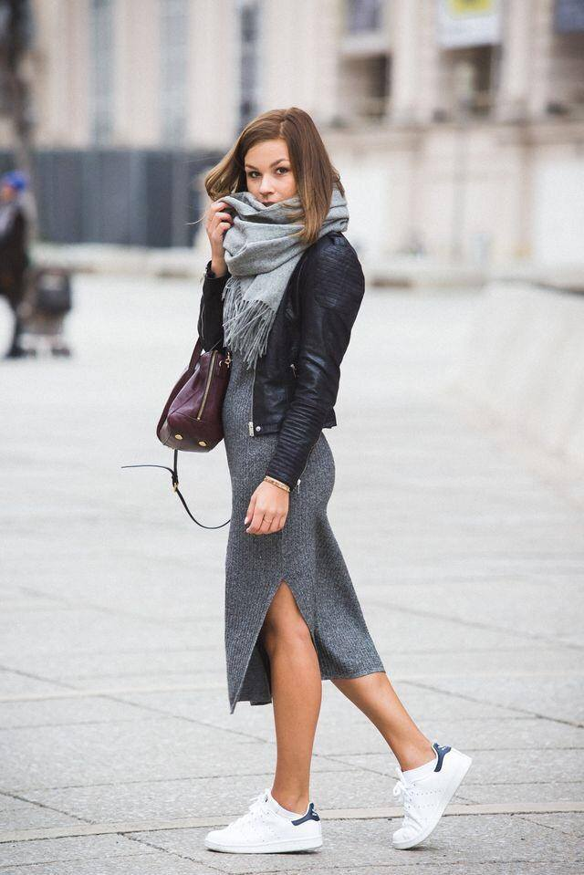 Chic Grey Sweater Midi, Leather Jacket, Warm Scarf, Handbag And Sneakers