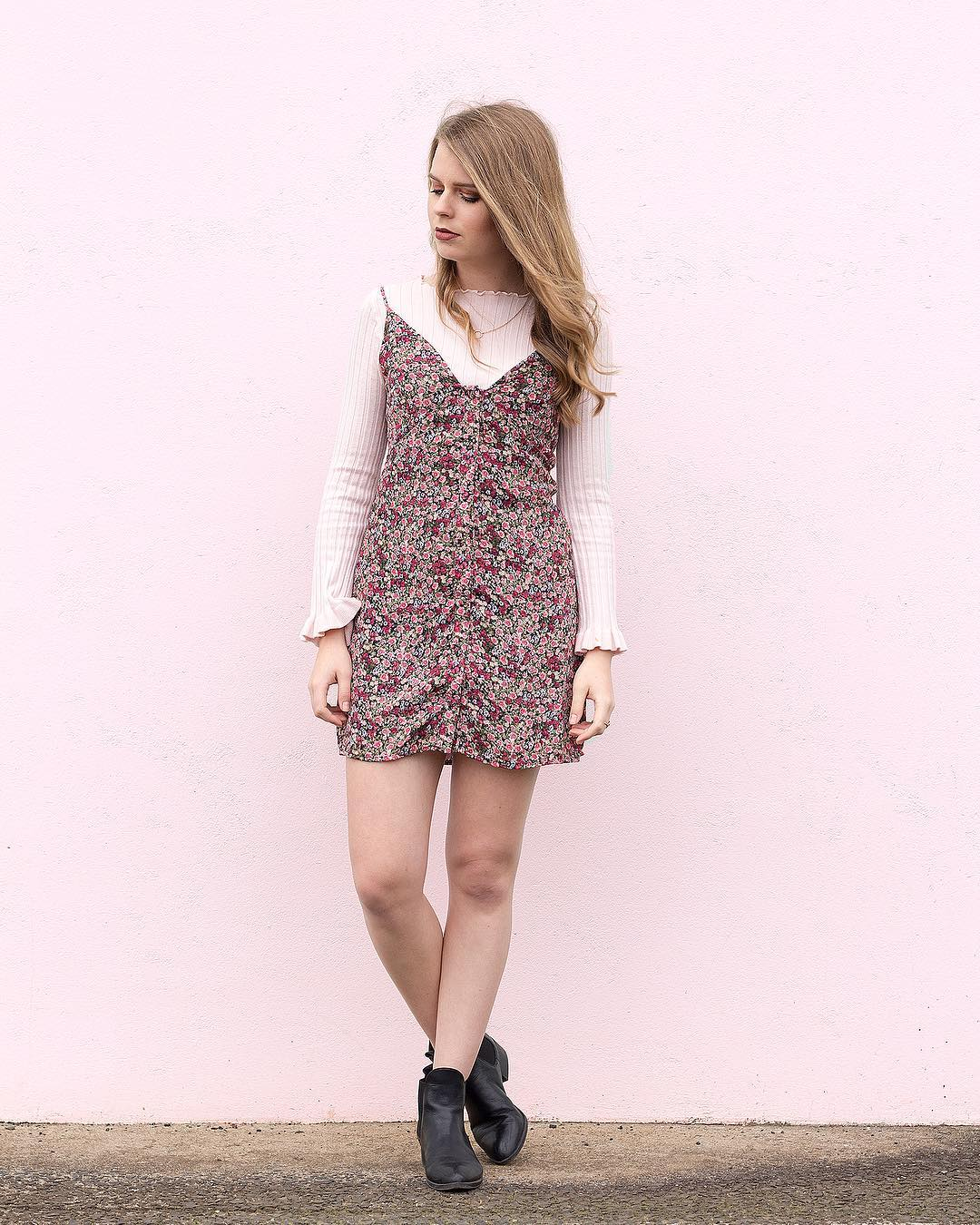 Chic Short Floral Dress Paired With Knit Top